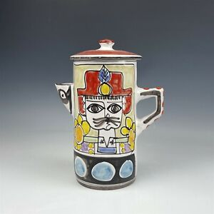 Mid Century Modern Cat Face w Hat Flower Hand Painted Pottery Tea Coffee Pot BWA