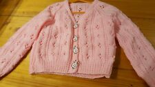 """Hand knitted childs """"v"""" neck lacey pink cardigan - 24"""" chest"""