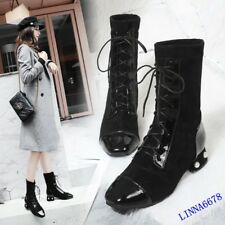 Womens PU + Suede Block Heel Square Toe Mid Calf Lace Up Pearl Shoes Casual Chic