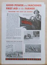 1934 magazine ad for McCormick-Deering Farmall Tractor - F-12, First Aid to Farm