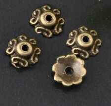 24pc 6mm antique bronze metal bead cap-1126