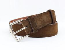Loro Piana Men's Brown Suede Silver Tone Hardware Belt Size 115 / 46