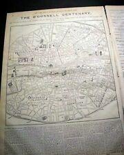 Daniel O'Connell Irish Catholic Leader Life Celebration Dublin Map1875 Newspaper