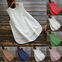 Women's Sleeveless Blouse Solid Plain Loose O-Neck Casual T Shirt Tops Tank Tops