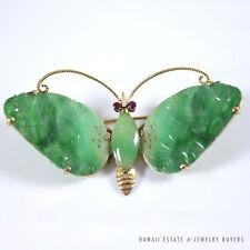VINTAGE APPLE-GREEN JADEITE JADE & RUBY BUTTERFLY 14K YELLOW GOLD BROOCH