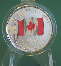 2015 Canada Flag 50th anniversary coloured $25 pure silver coin in mint pkg