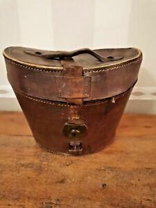 Boite à chapeau en cuir pour chapeau a restaurer fin 19ème