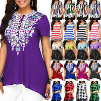 Plus Size Women Short Sleeve T Shirt Tops Summer Casual Loose Blouse Tunic Tee