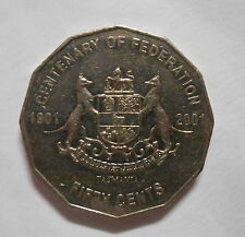 "2001 50c Fifty Cent  Tasmania ""TAS"" Centenary of Federation  Commemorative 50c"
