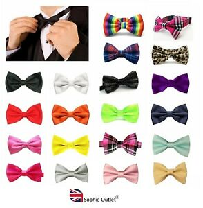 Classic Mens BOW TIE Clip On Pre Tied Plain Dickie Bowtie Boys Men Wedding Dress