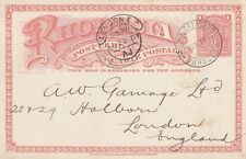 RHODESIA:1901 1d RHODESIA POSTAL CARD H &G 11 used ,cricket clothing-LONDON h/cl
