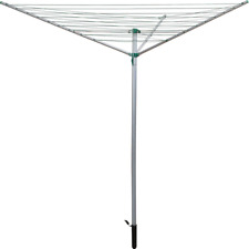30m 3 ARM ROTARY WASHING LINE GARDEN CLOTHES DRYER AIRER & GROUND SPIKE upto15KG