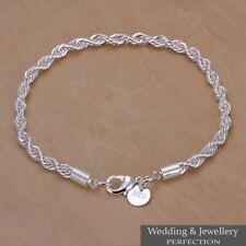 Ladies 925 Silver Plated Bracelet Bangle Charm Crystal Jewelry Wedding Bridal