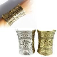 Heiße antike gebogene Schmuck lange breite Vintage Metall Manschette Armband BOD