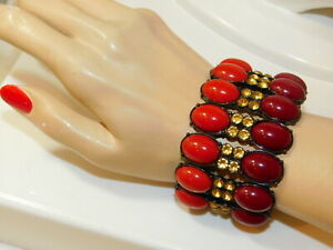 Carnelian Color Cabochon Golden Rhinestone Wide Stretch Bracelet 3i 85