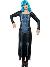 X Ray Esqueleto Disfraz señoras Tubo Vestido Halloween Fancy Dress Outfit 16 - 18