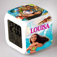 Reveil cube led lumière nuit alarm clock vaiana personnalisé prénom  réf 14