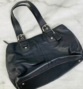 COACH Soho XL Black Leather Carryall Tote Carry on Travel #F13110 Vintage