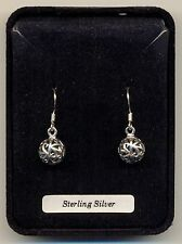 Silver Ball Filigree Design Sterling Silver 925 Drops Earrings Organza Gift Bag