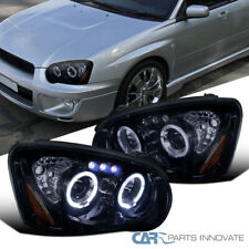 For Subaru 04-05 Impreza WRX Tinted LED Halo Piano Black Projector Headlights