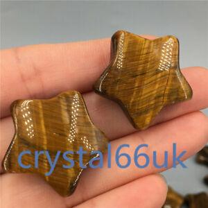 Natural Tigers Eye star carved quartz crystal pentagram Healing 2pcs