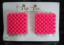 Vintage Pair Tip Toe Shoe Clips Pink Bead Shoe Accessories New on Card