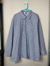 Mens XXL 2XL Ben Davis USA MADE 1/4 Zip Pinstripe Long Sleeve Collared Shirt