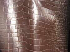 lambskin leather hide skin Dark Brown Embossed Alligator smooth finish