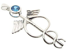 Medical Symbol Pendant Blue Topaz Caduceus Healing
