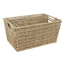 Set of 3 JVL Seagrass Rectangular Storage Baskets Home Office Caravan Strong