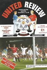 Football Programme  Manchester United v QPR - Premiership - 26/9/1992
