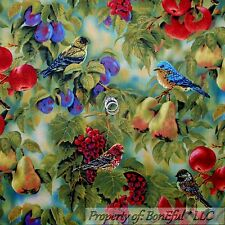 BonEful Fabric Cotton Quilt Green Leaf Red Bird Fruit Tree Flower FQ SALE SCRAP
