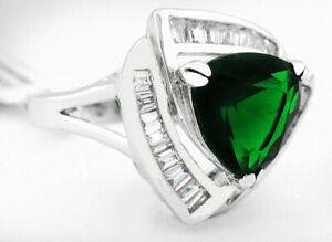 EMERALD 6.70 Cts & WHITE SAPPHIRES RING Silver Plated * NEW WITH TAG * Size 7.25