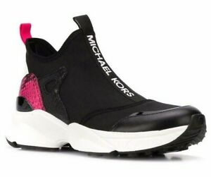 NIB Size 5 Michael Kors Willow Black Multi Pink SlipOn Trainer Sneaker Scuba