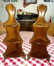 Pair of antique style wood wall mount 3 tier corner shelves