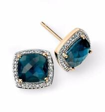 9ct Yellow Gold London Blue Topaz & Diamond 9mm Square Studs Earrings Gift Boxed