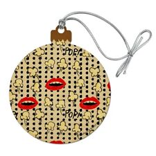 Pop Goes the Popcorn Mouths Lips Pattern Wood Christmas Tree Holiday Ornament
