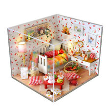 Dollhouse Miniature DIY Kit with Cover Wood Toy doll house room Kitten Diary