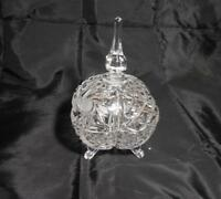 Vintage Imperlux Lead Crystal Footed Covered Candy Dish - Cut/Etched Floral