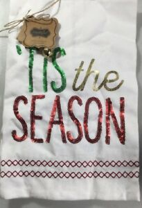 "Mud Pie Linen  Hand Towel ""Tis the Season"" NEW, Christmas - Read & Green Sequins"