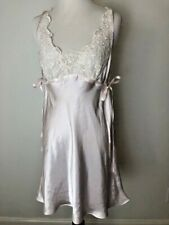 Linea Donatella Pink Baby Doll Gown with Ivory Lace Size Medium