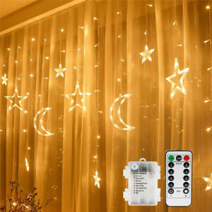LED Fairy Lights Stars and Moon Window Curtain Lights Decor for Garden Home IP65