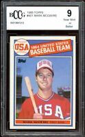 1985 Topps #401 Mark Mcgwire Rookie Card BGS BCCG 9 Near Mint+