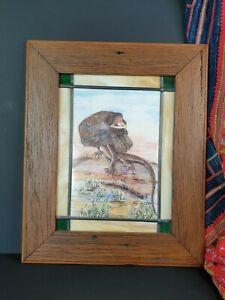 Old Australiana Frilled Lizard Bush Friends Framed Print on Tile