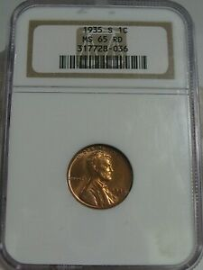 BU RED GEM 1935-s Lincoln Wheat Penny NGC MS65 RD.  #26