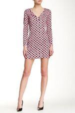 NWT Diane von Furstenberg Reina Check Dot Pink Long Sleeve Dress 4 $368
