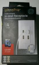 GE UltraPro 4-Port USB In-Wall Receptacle, Changeable Faceplate, 40542