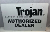 Vintage Trojan Battery Company Authorized Dealer Metal Service Sign