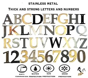 "Brass Door Numbers & Letters 3""- 75 mm Polished Solid House Flat Apartment"