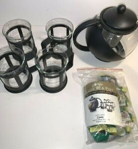 Primula Half Moon Glass Teapot w Removable Infuser 4 Cups & 6 Flowering Tea Pkts
